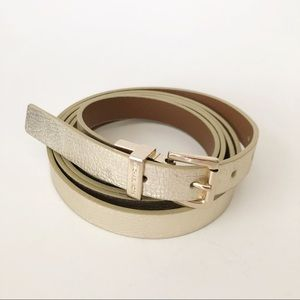 Michael Kors Gold Double Wrap Skinny Belt Medium